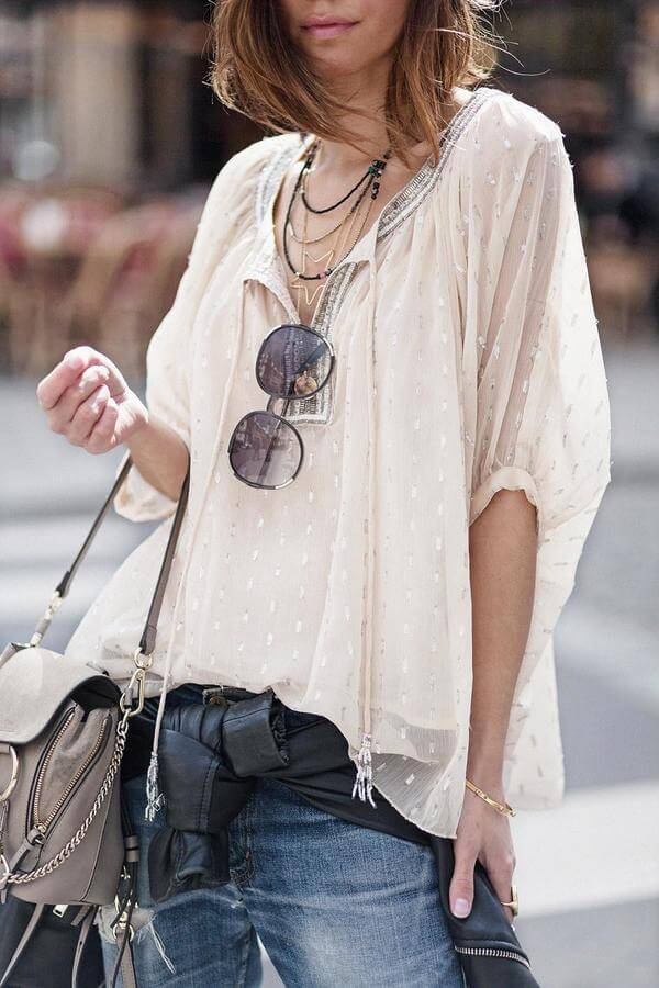 Layer down your jeans, leather jacket and transparent top for breezy summer days. Add boho shoulder bag and big sunglasses. #sheertop #summeroutfit