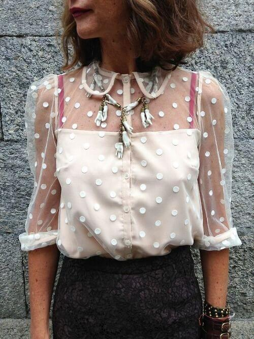 Did you know that polka dots is one of the leading pattern trends this year? We hope that you are nodding because this transparent top is great for summertime! #sheertop #summeroutfit
