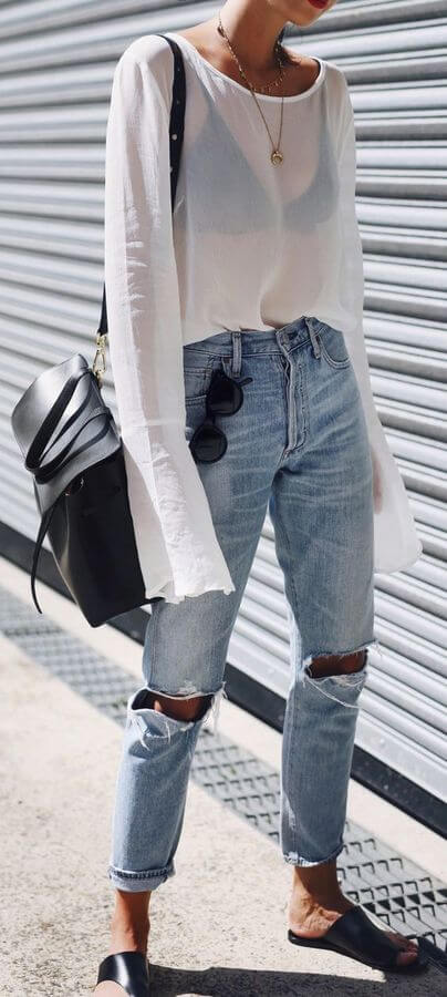 Chic and classy combinations are always the best choice. If you ask us, nothing can beat jeans-shirt combination - try to go with the transparent top. #sheertop #summeroutfit