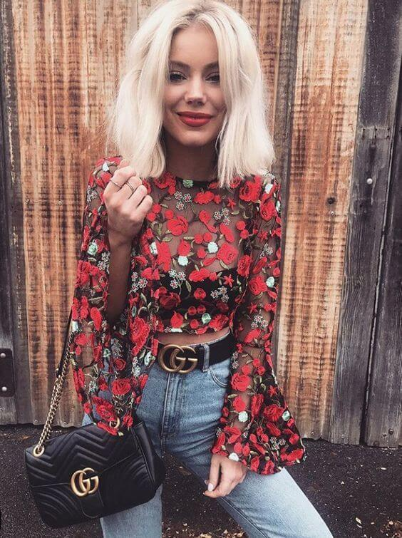 Red embroidered top made of the sheer material is the perfect staple for a night out or some cocktail party. Style it with high waist jeans and put on a statement belt. #sheertop #summeroutfit