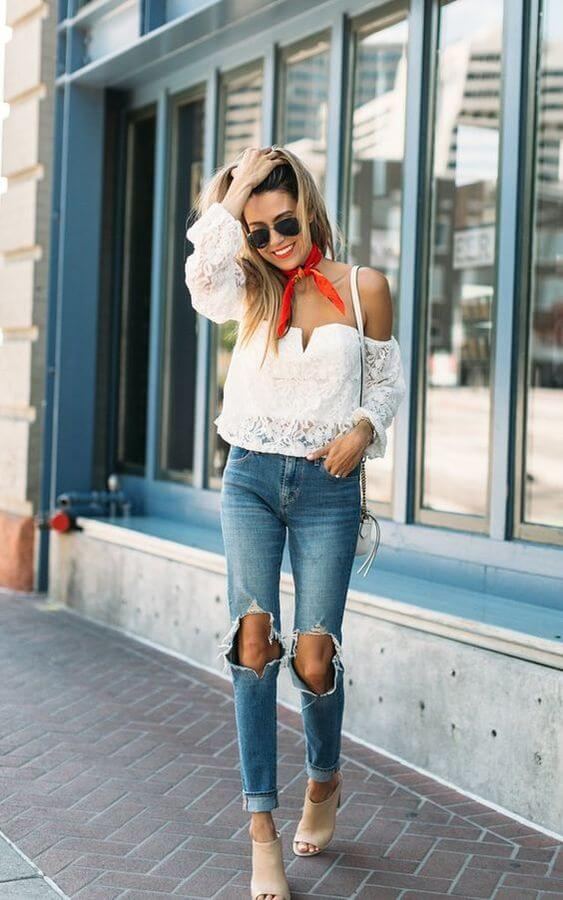 Wondering what to wear for a date? Choose this white lace off-the-shoulder top and style it with jeans and red scarf. #sheertop #summeroutfit