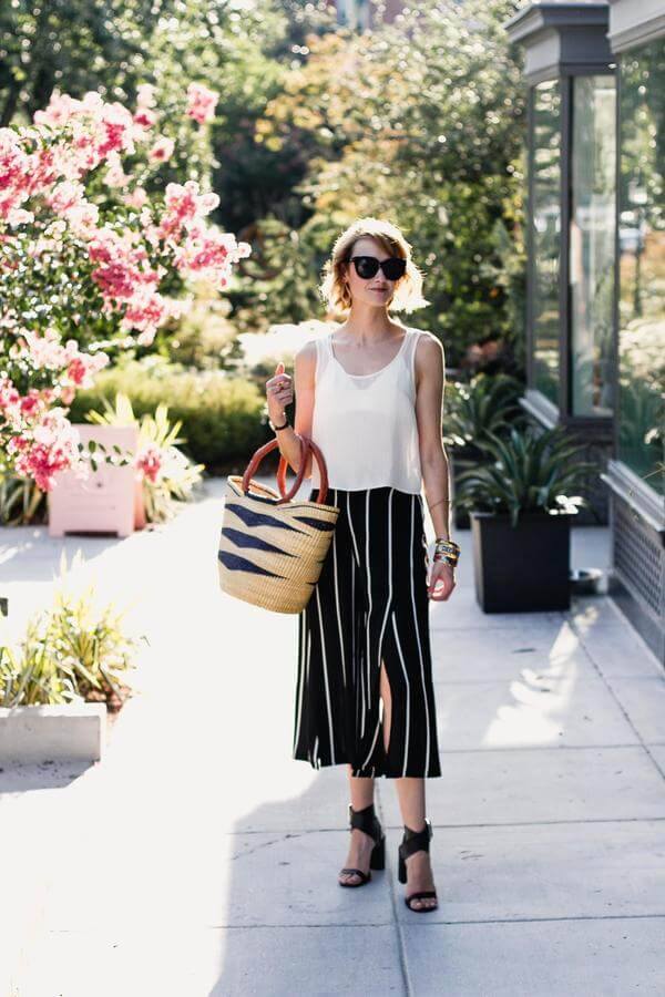 Culottes are a favorite piece of clothing for many fashion bloggers. We adore them, and we think you should try wearing them with sheer top. #sheertop #summeroutfit
