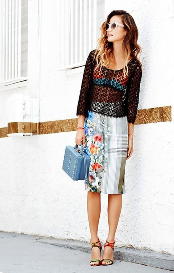 This look is perfect for summer. Wear this black crochet top with your colorful bikini below. #sheertop #summeroutfit