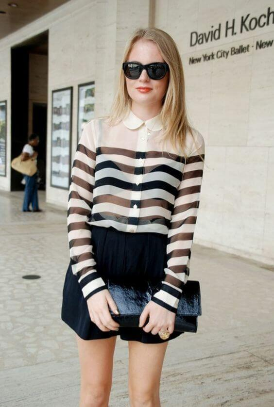 If you are into stripes, then you should try this sheer button-down. Pair it with flowy shorts. #sheertop #summeroutfit