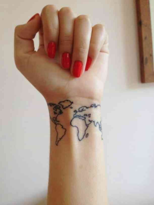 If Wanderlust is one of your favorite words, and travel is your second nature, such world map tattoo will be an excellent idea for you to try out in the summertime #summertattoo #colorfultattoo #wanderlust