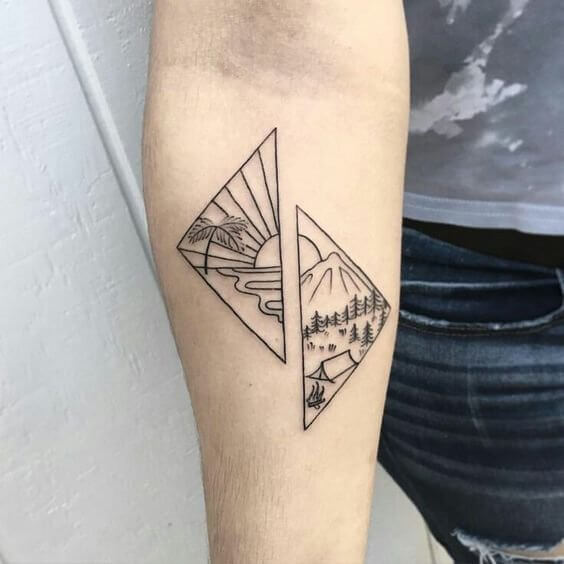 A stylized tattoo with allusion to seaside and mountain vacation #summertattoo #minitattoo #minimalisttattoo