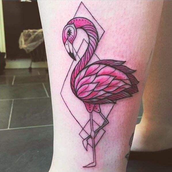 Pink flamingo tattoo will earn you a lot of amazed views. Look at the combination of art and geometry! #summertattoo #colorfultattoo