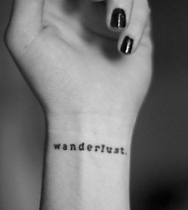 You can make Wunderlust into a tattoo and show your emotions about travels. #summertattoo #minitattoo #minimalisttattoo