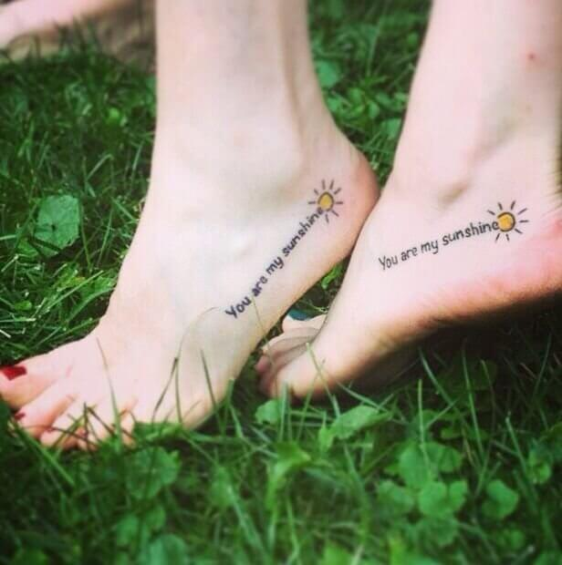 Spread the message with your lovely foot summer tattoos! #summertattoo #minitattoo #minimalisttattoo #colorfultattoo