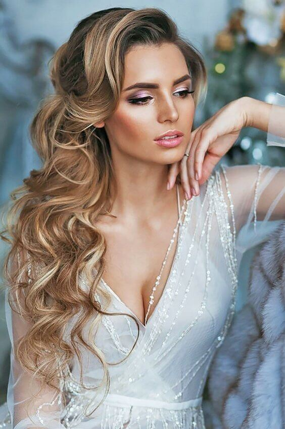 If you are into romantic hairstyles for your wedding day, then go with something like this. #wavyhair #hairstyle