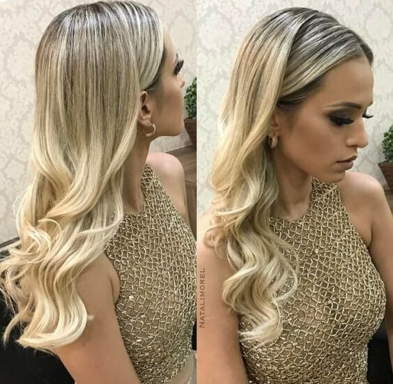 Gold shaded hair matches with the dress. Go with loose wavy hairstyle, and you won't regret it. #wavyhair #hairstyle