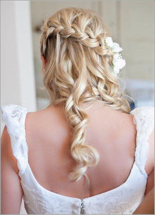 Waterfall braids are trendy and most of all they look very romantic and glamorous. With the floral hair accessory and waves, you will have a perfect hairstyle for your big day. #wavyhair #hairstyle