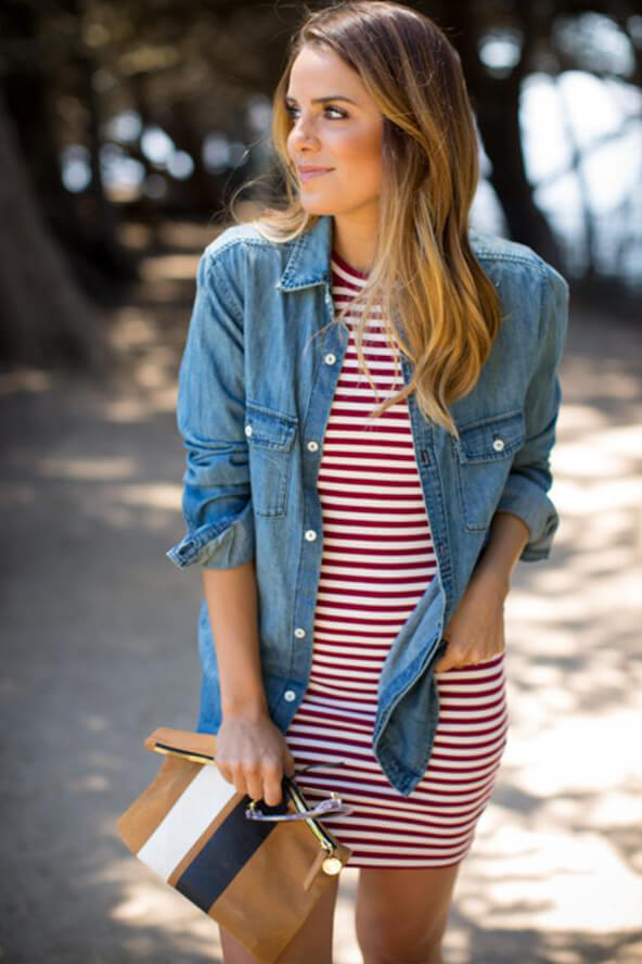 A casual and very comfy #outfits idea for #4thofjuly - denim button-down looks even more interesting when put on a striped red-and-white bodycon dress