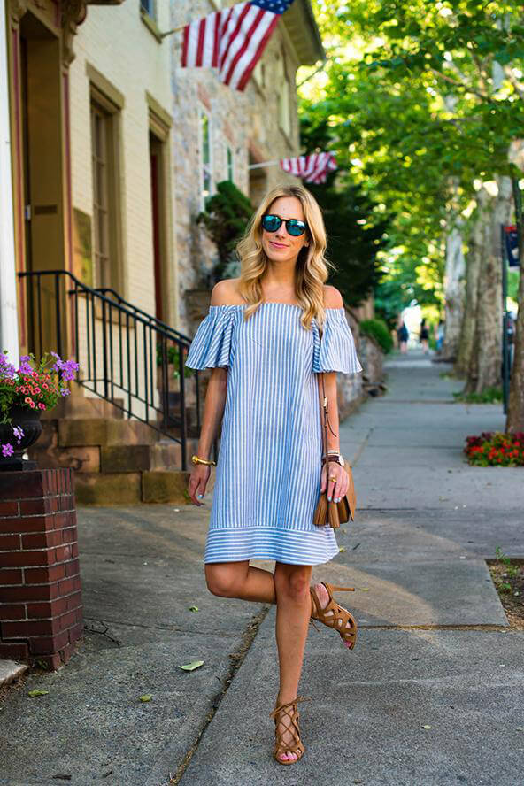 We can't resist stripes! This lovely off-the-shoulder ruffle dress seems like a perfect choice for the holiday celebration. #4thofjuly #outfits