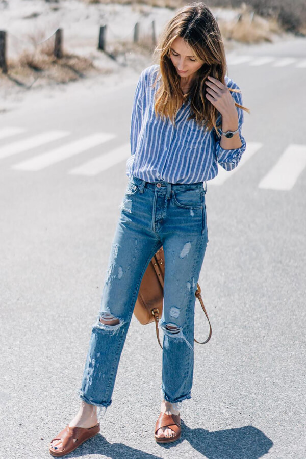 Relaxed outfits like this are perfect for Fourth of July barbecues, garden parties and casual gatherings with your friends and family. #4thofjuly #outfits
