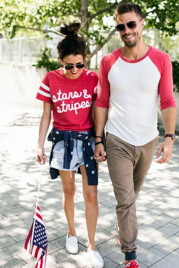 Match colors with your boyfriend! Tie a cardigan around your waist and style everything with denim shorts and white sneakers. #4thofjuly #outfits