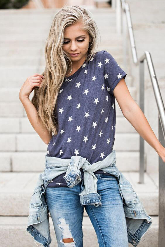 Stars print is a significant trend for this fashion season. Don't hesitate to style it for the Independence holiday with your favorite pair of jeans and denim button-down. #4thofjuly #outfits