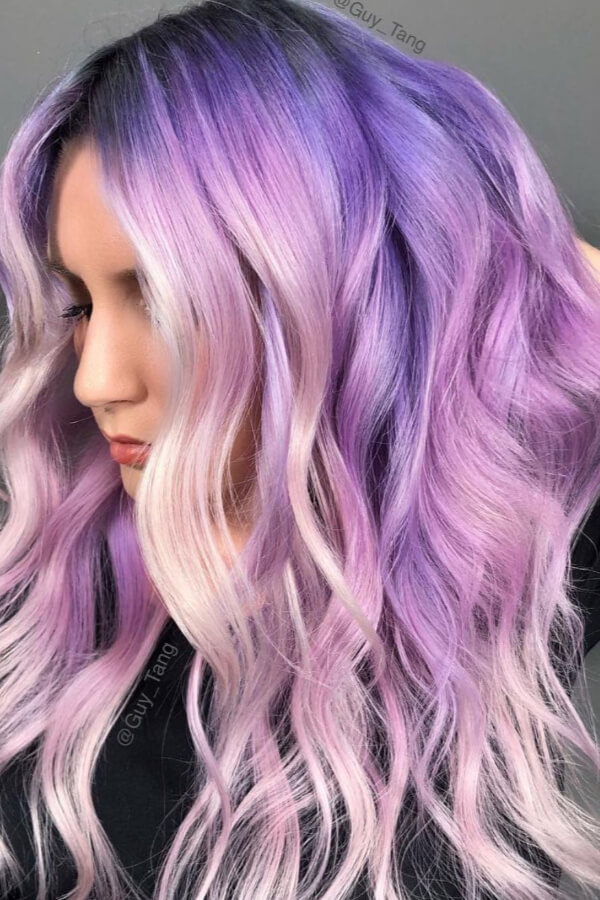 Channel your inner mermaid in this magical lavender and purple hair!