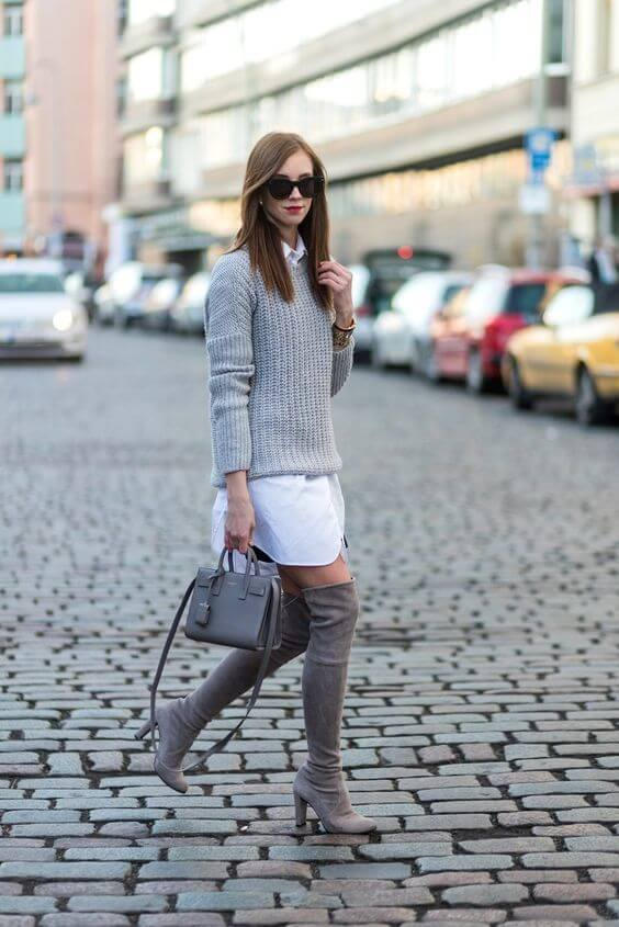 8 Amazing Ways to Wear Shirtdress with High Boots – BelleTag