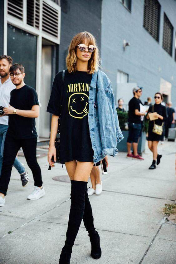 Show Off Your Cool Side By Wearing An Oversized Printed T Shirt With The Black
