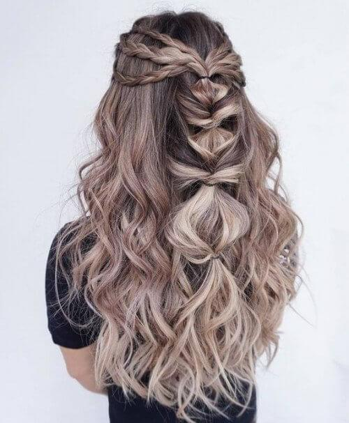 Side braids melt into one