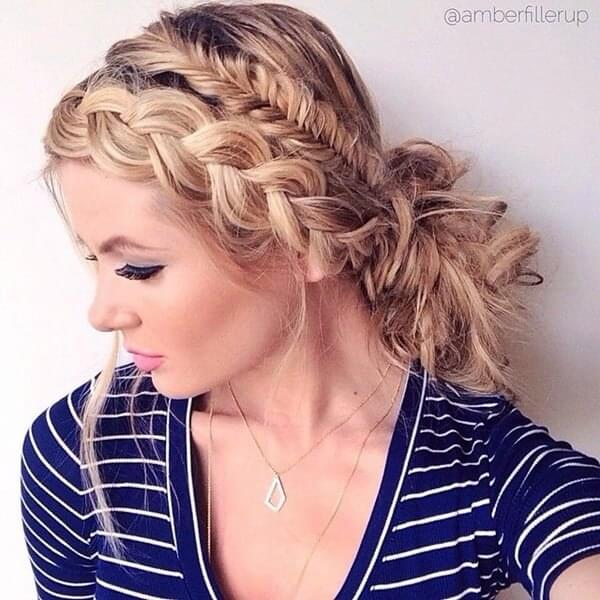 Combination of two French braids