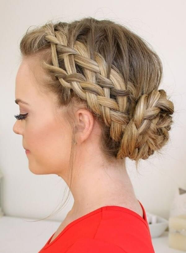 French bun combined with braids