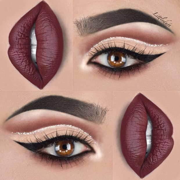 Glitter cut crease and burgundy lipstick - a stylish combination for winter