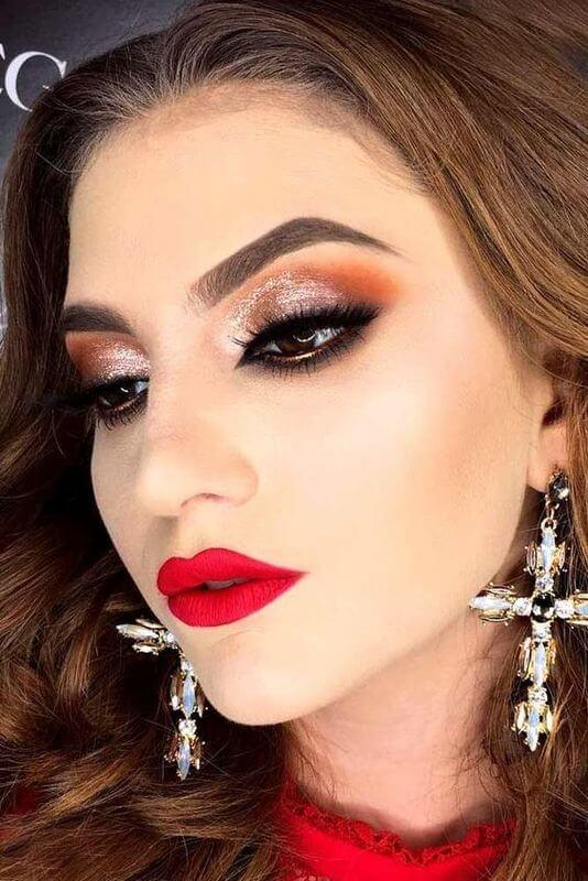 Makeup with red and orange shades