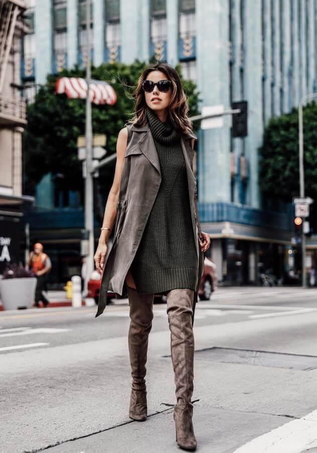 These earth-toned boots are the perfect accessory to an olive green sweater dress. Add a trench vest for achieving a minimalistic look, perfect for work.