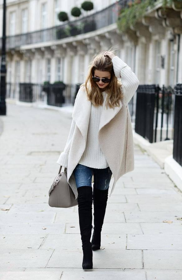 The beige color is versatile so you can style it with any other shade. Make yourself super cozy with a chunky sweater, shearling vest, and skinnies.