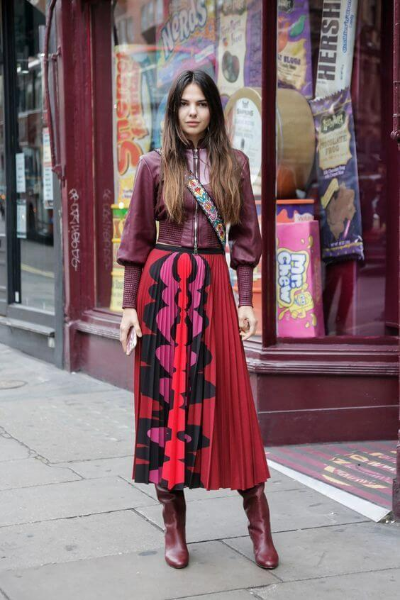Burgundy blouse and pleated skirt will make you the prettiest women in the office. If not, you will be the most sophisticated one.