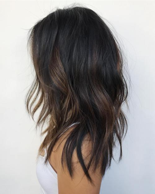 Partial balayage will give your hair a subtle and beautiful look. Let this be a notable change of your standard warm black hairstyle. #haircolor #warmblackhair