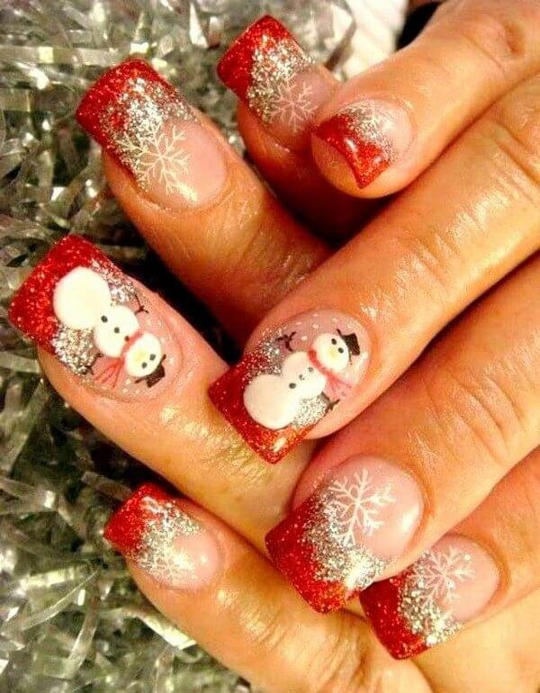 Snowman is always welcome on out nails! In combination with a red French manicure and sparkly polish your nails will look fantastic. #winternails #naildesign