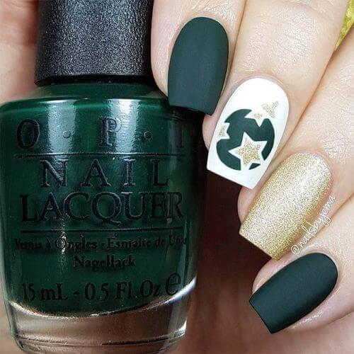 Matte can be equally good as glitter. Try some dark shade like green or even opt for gold tone. #winternails #naildesign