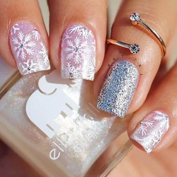 Sometimes, you don't need to go with red or green. It is enough to add a bit of glitter nail polish to your soft pink nails. #winternails #naildesign