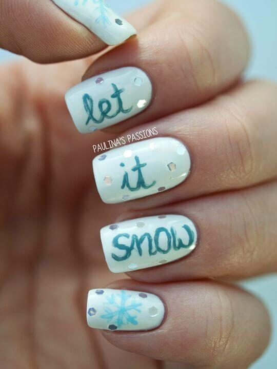 Carrying a message on your wardrobe is essential for making a statement. Now, you can do that by giving it on your nails. Let is snow! #winternails #naildesign