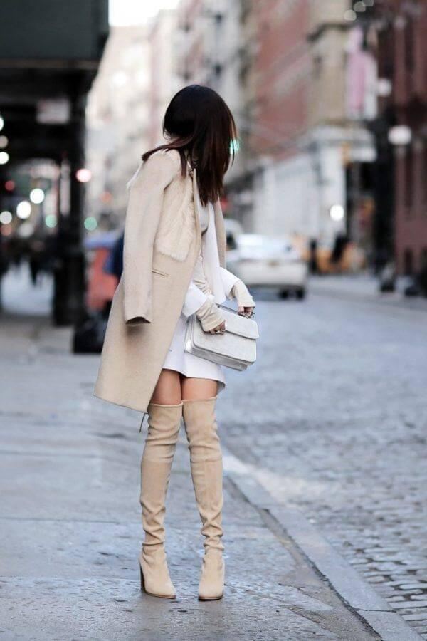 Neutral shades are perfect almost as black or grey. You can look fabulous in the beige-toned dress, creme shaded thigh-high boots and trench coat. Trust us, you can look amazing wearing bright colors in the nightclub. #bootsoutfit #nighout #nightoutlook