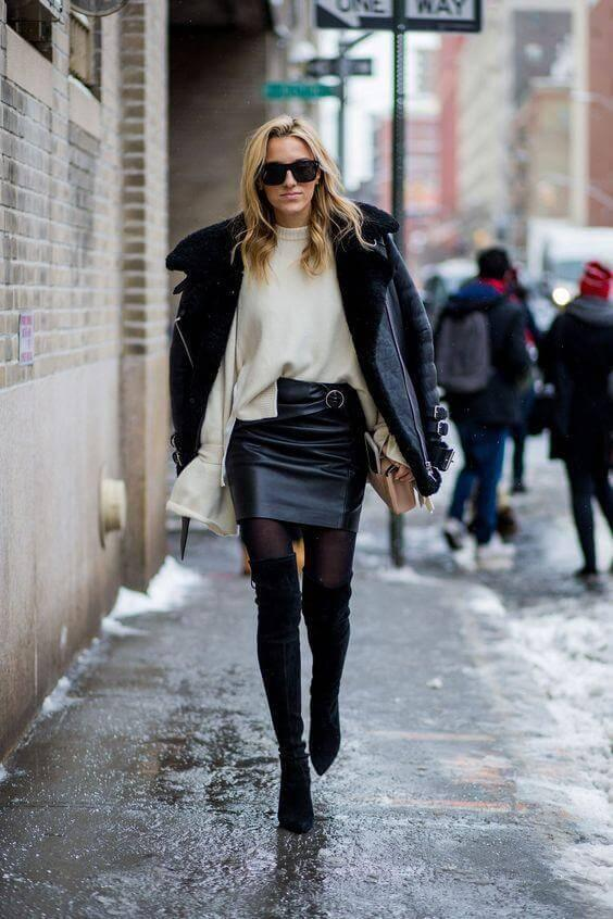 Leather combined with thigh,high boots is a bull\u0027s eye combination for the night  out