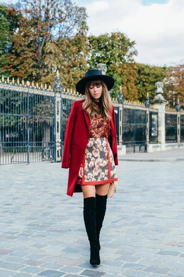 If you prefer to out looking sophisticated and polished, then opt for the look like this. Floral print, lace top, red coat as well as tall boots will make you queen of the night. #cluboutfit #highboots