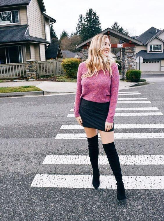 With this pink sweater, you will be noticed in the nightclub. Round everything off with a mini skirt and over-the-knee boots. #cluboutfit #highboots
