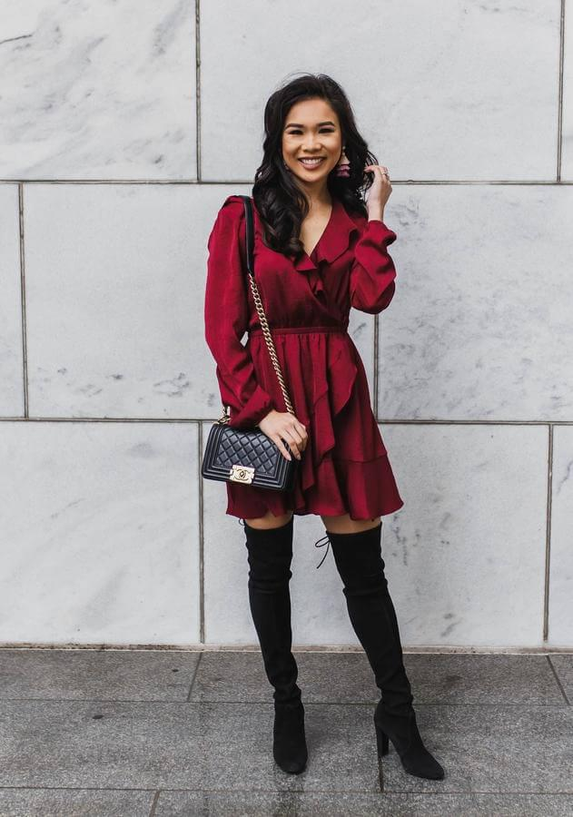Ruffle dress in winter - why not? You can style this red dress with thigh-high boots and add crossbody bag. This combo is perfect for clubs, parties, and other special occasions. #cluboutfit #highboots