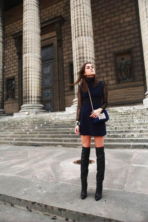 Navy-blue dress with lace sleeves has perfect straight cut. You can style it with your favorite pair of boots - thigh-highs. #cluboutfit #highboots
