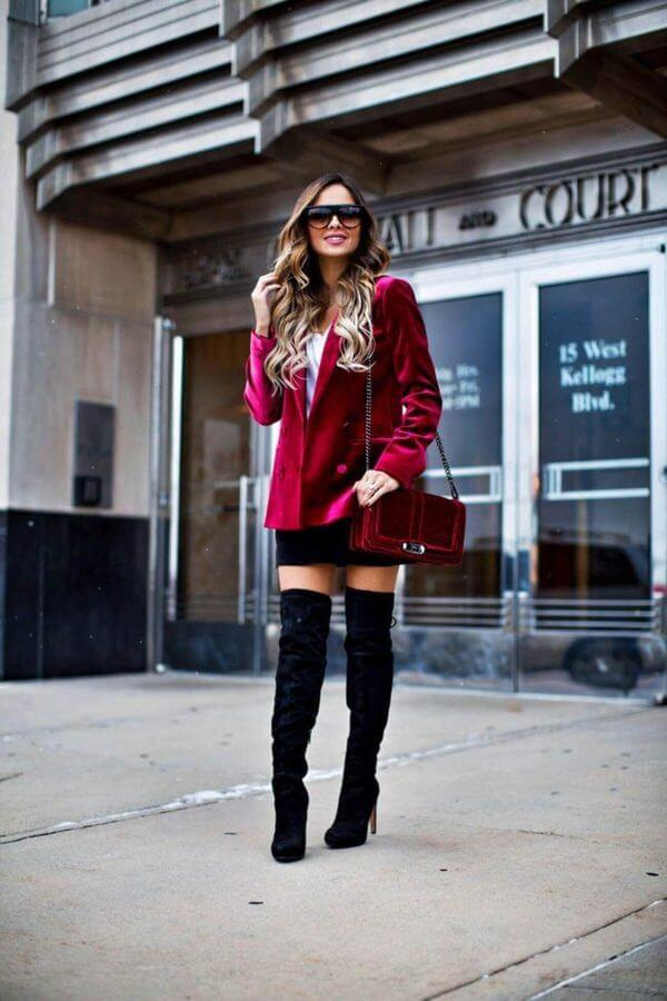 Velvet adds a luxurious and posh look to every outfit combination. Combine this statement red blazer and thigh-high boots combo for a Saturday night out. #cluboutfit #highboots
