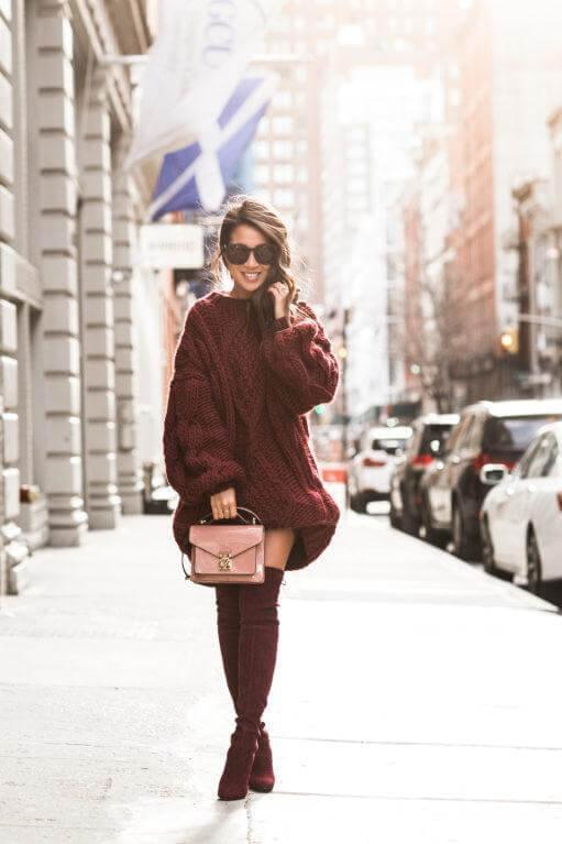 Burgundy look with a hint of rose looks pretty perfect for both casual and elegant wear. This chunky knit will keep you comfortable and very cozy, be sure in that. #highboots