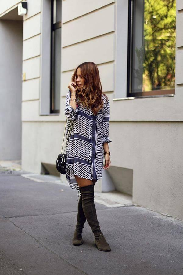 Comfortable looks like this one are ideal for everyday wear. Tall boots in combination with printed blue and white button-down dress seem like very comfy and stylish mix. #highboots