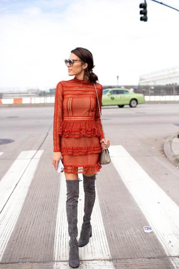 Orange lace dress looks very flowy and fashionable. If you want to wear it on a cold fall or winter days, then style it with grey thigh-high boots. #highboots