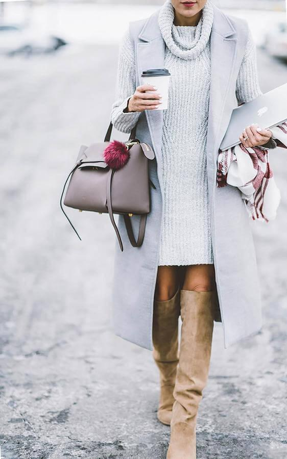 Grey knit dress is combined with a tailored vest in the same shade. You don't need to choose between wearing tights or leaving your legs bare - tall boots will keep you warm all the time. #highboots