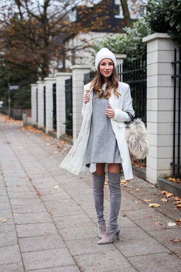 Grey and white make perfect winter combination, without making you look like a snowball. If you prefer interesting accessories, add fluffy handbag. #highboots