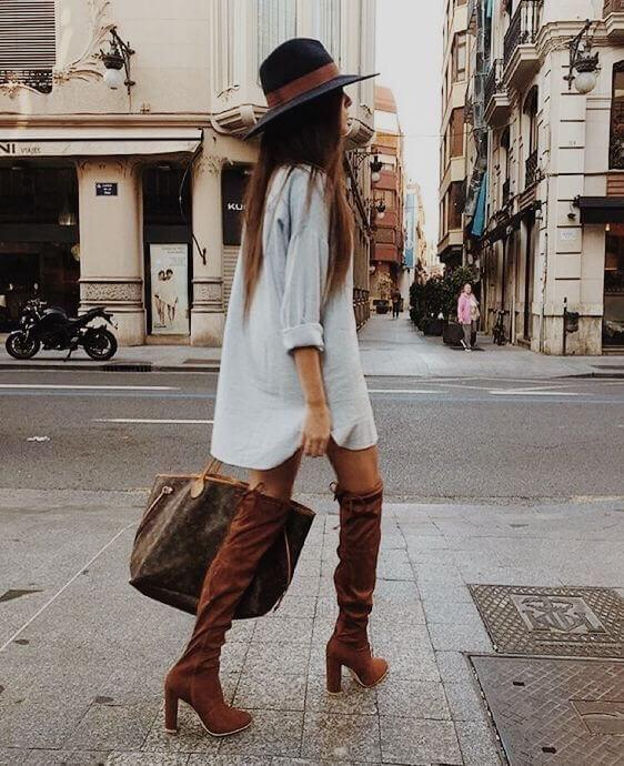 Wearing button-down as a dress is a great idea. If you want to make this look even more interesting, layer it with a long camel coat. #highboots